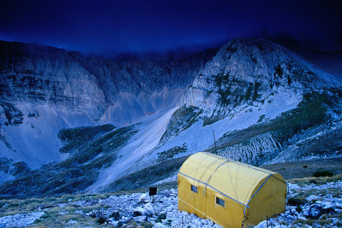 The Fusco bivouac (2455m), providing accomodation and shelter on hiking and climbing trails through the Maiella National Park.