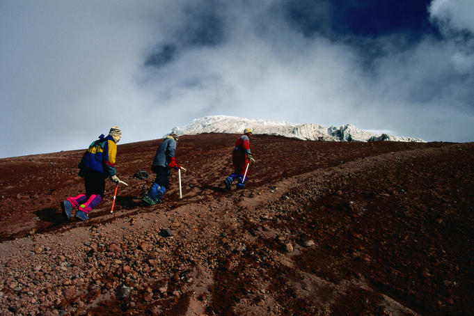 Mountaineers on approach to snowline on Cotopaxi - Cotopaxi National Park