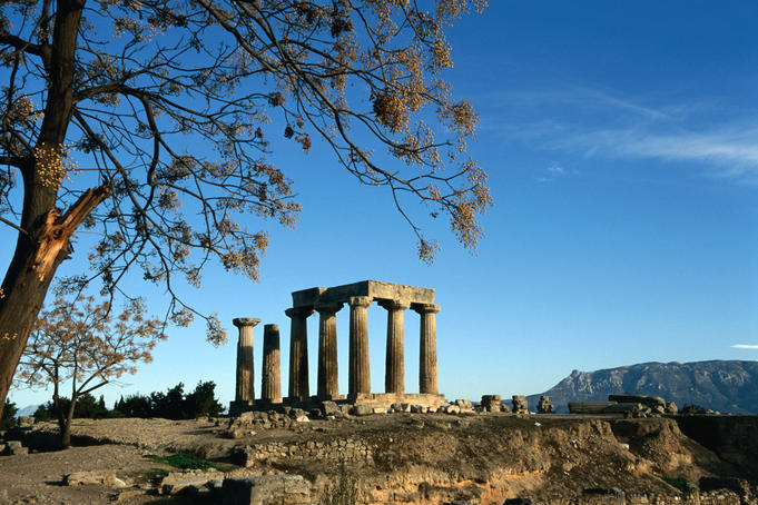 5th century BC Doric Temple of Apollo at the site of Ancient Corinth.