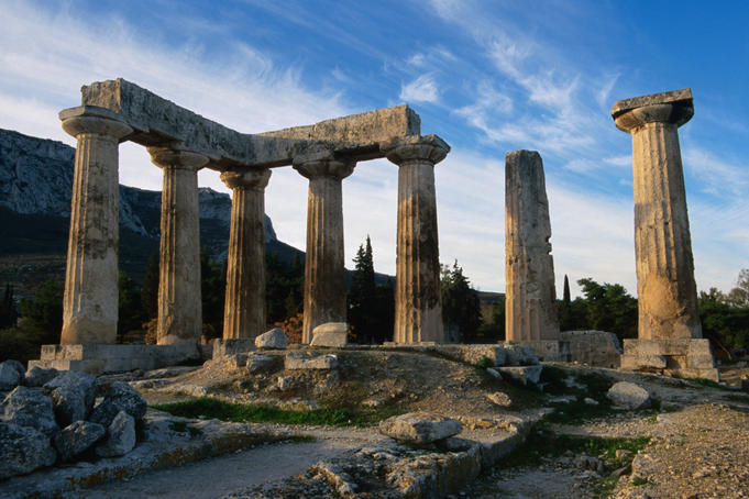 The 5th century BC Doric Temple of Apollo at the site of Ancient Corinth.