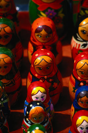 Russian Bubushka dolls, traditional painted wooden stacking dolls - St Petersburg