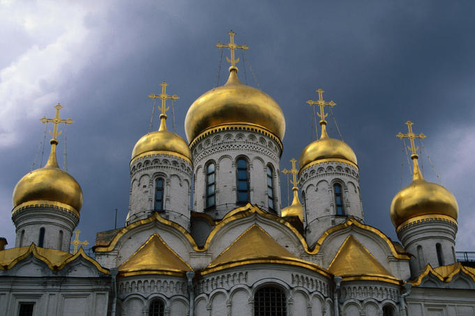 Five golden onion-domes of Cathedral of Assumption (Uspensky Sobor).