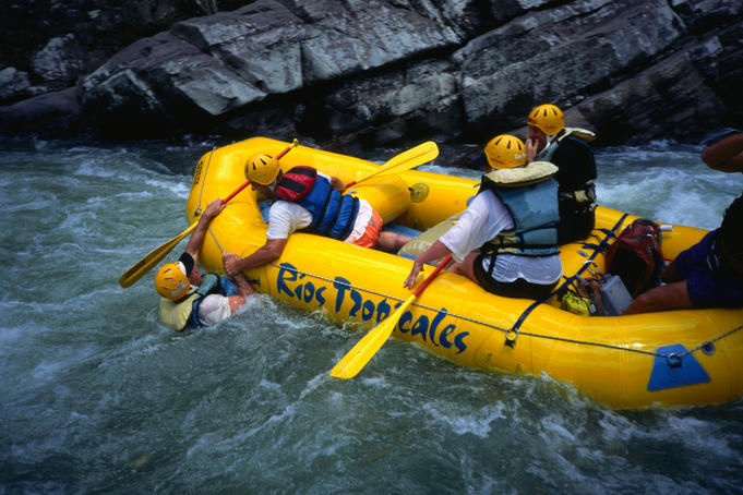 White-water rafting on the Pacuare River in Costa Rica. The river is one of the top five ranking rivers in the world for scenery and sometimes violent rapids.
