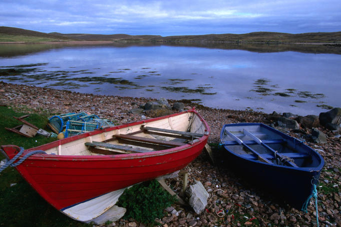 Fishing boats hauled up at Hamma Voe.