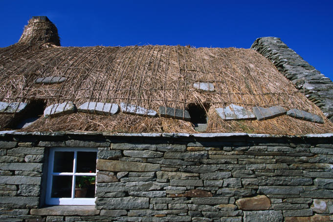 Restored croft house now housing a museum, near Southvoe, South Mainland