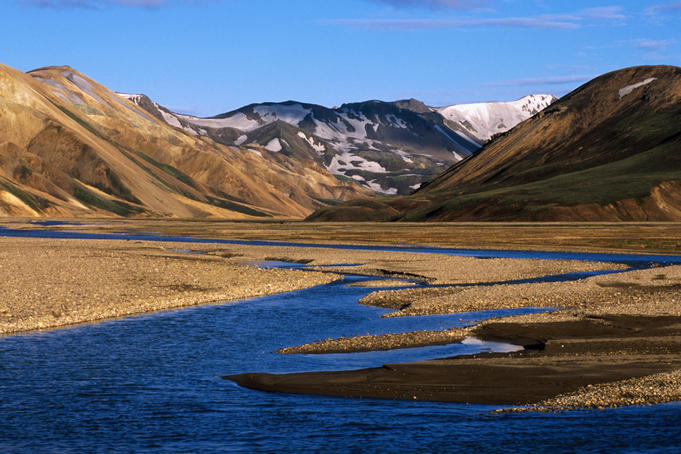 Jokulgil river and rhyolite hills from Landmannalaugar campsite.