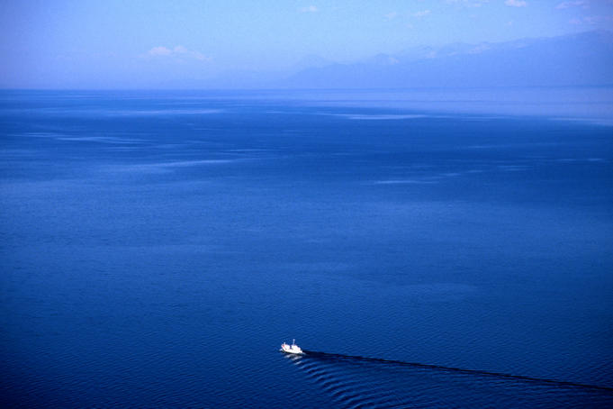 Aerial view of a boat on Lake Baikal.