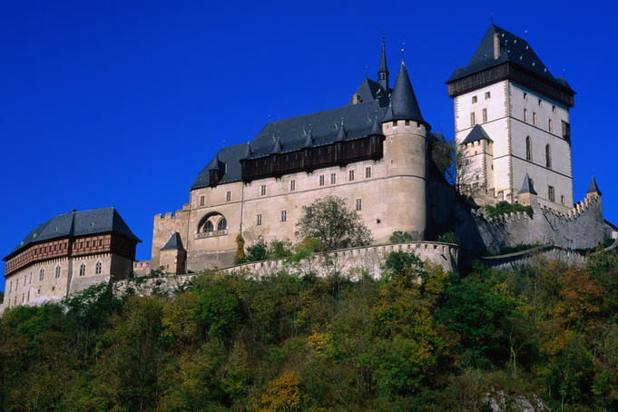 Karlstejn Castle was founded by Charles IV in 1348 as a royal hideaway and treasury for the crown jewels. Updated in the 19th century, it is one of the most visited castles in the Czech Republic.