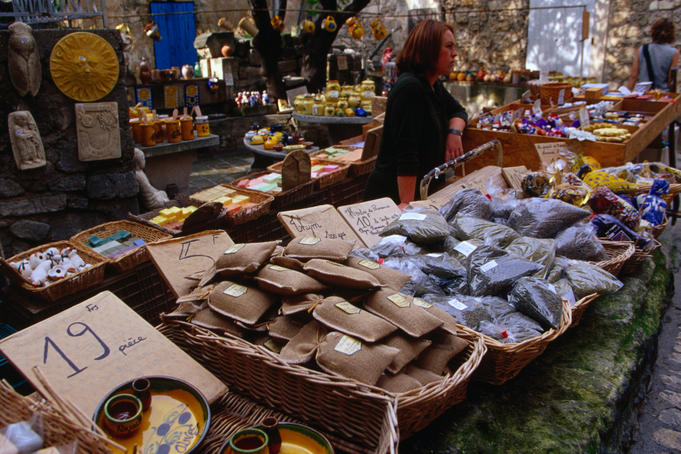 Handicrafts on sale at the market of Les Baux-de-Provence.