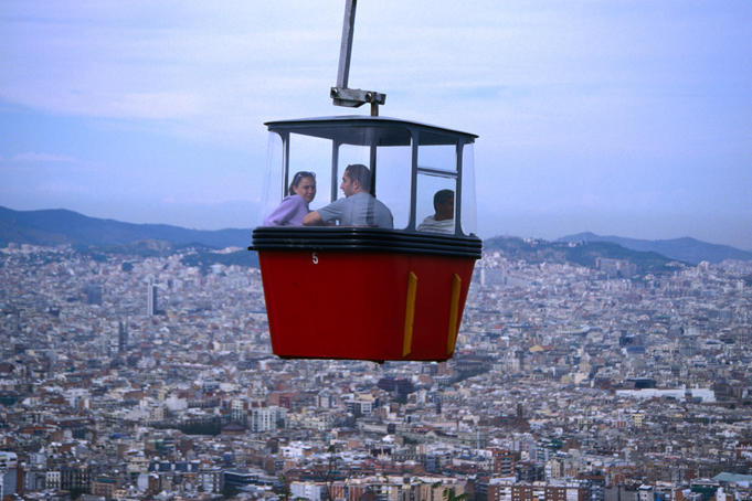 A good way to see the city of Barcelona and the city's small mountain, Montjuic is from the cable-car.