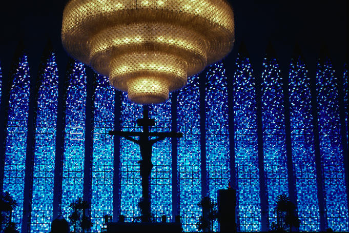 Inside the main chapel of the Church of Brasilia in Brazil.