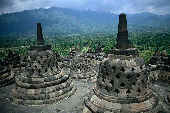 Buddhist temples or stupas of ancient Borobudur.