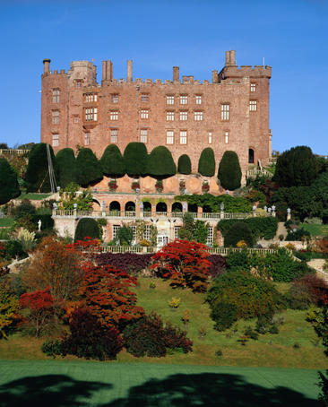 Medieval Powis Castle in Powys (Wales). Originally built in c.1200 by Welsh princes it has subsequently been added to by generations of Herberts and Clives.