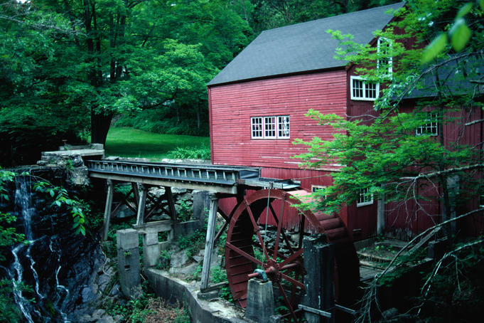 Historic Red Mill in Bridgwater, one of New England's most famous landmarks.