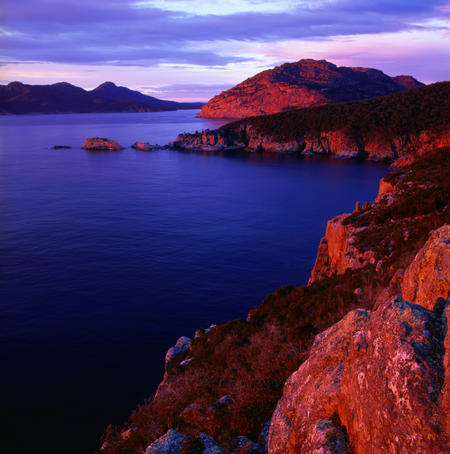 Wonderful sunset over coastal Freycinet National Park in Tasmania.