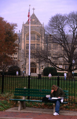 Heavy reading outside the grounds of the historic Georgetown Univerity in Washington DC.