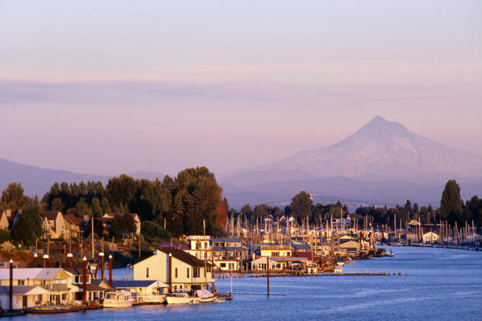 Harbor on the Columbia River with Mt Hood in distance.