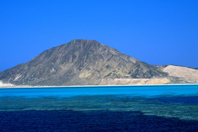 View of Rocky Island, south of Zabargad, Red Sea.