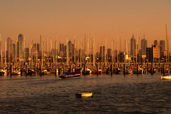 The city of Melbourne from St Kilda pier.