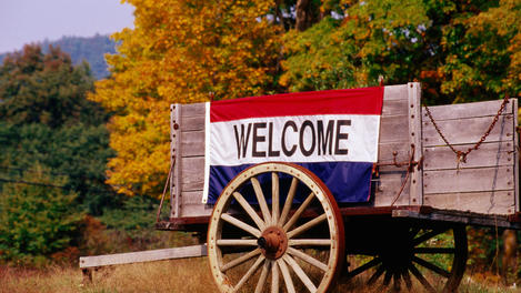 Welcome sign, New England