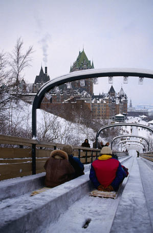 The toboggan slide near the historic landmark Frontenac Hotel in Quebec City.