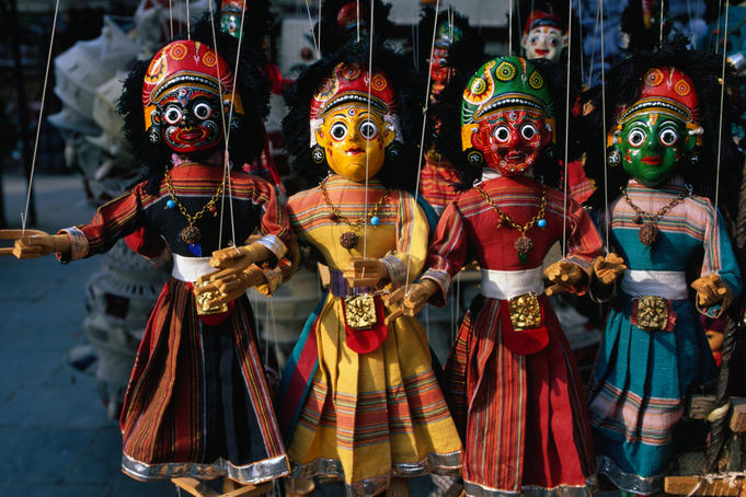 Nepali puppets for sale near Mahendrashwar temple.