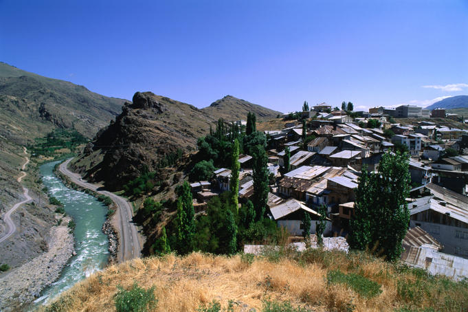 The small town of Ispir sits on a ridge above the Coruh River, popular for white water rafting.