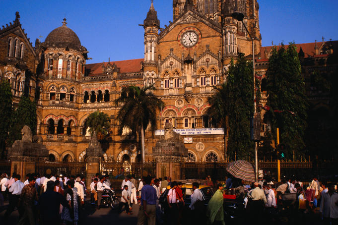 The Gothic facade of Victoria Terminus ( also known as Chhatrapati Shivaji Terminus ) was designed by Frederick Stevens in 1887 and inspired by London's St Pancras station, Mumbai.