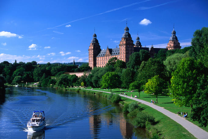 Renaissance Johannisburg Castle on banks of Main River in town of Aschaffenburg.